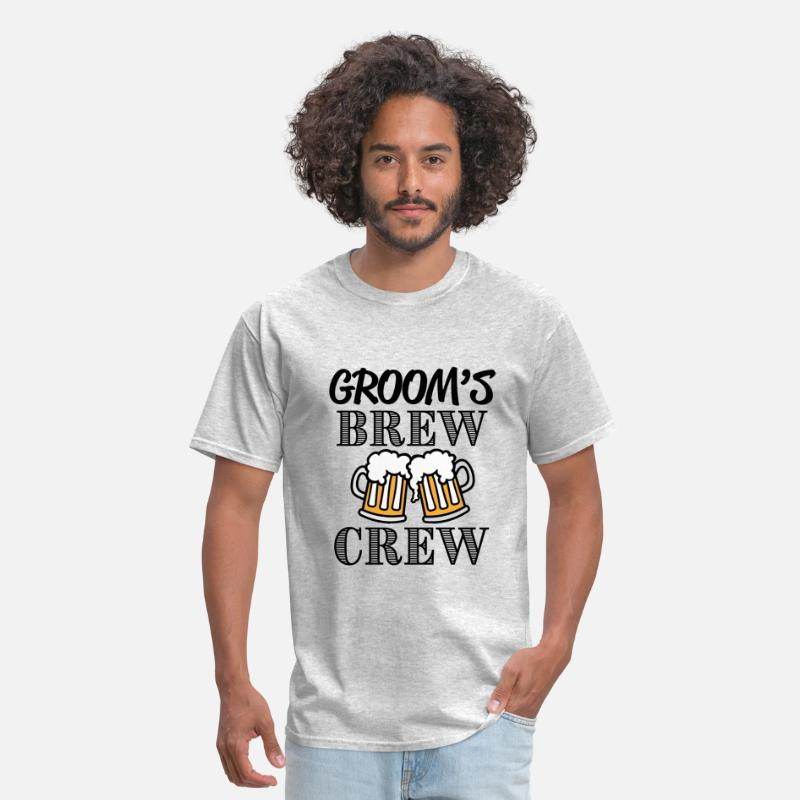 Wedding Party T-Shirts - Groom's Brew Crew groomsmen party shirt - Men's T-Shirt heather gray