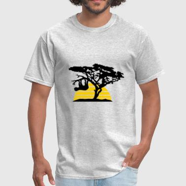 sun stripes africa silhouette tree bough head over - Men's T-Shirt