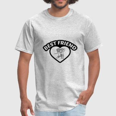 black outline frame heart best friends text logo f - Men's T-Shirt