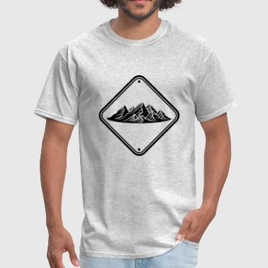 Cool Logos zone note caution danger shield caution mountains - Men's T-Shirt