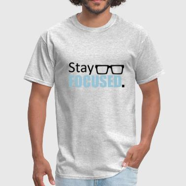 hornbrille logo design focused stay focused king c - Men's T-Shirt