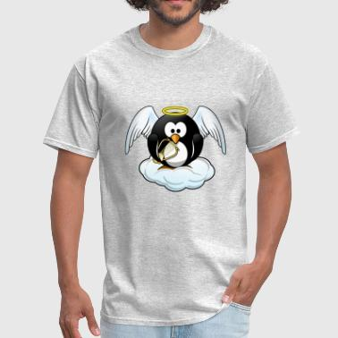 Angel Penguin on the Cloud with harp - Men's T-Shirt