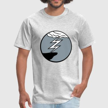 cloud thunderstorm lightning storm cliff round cir - Men's T-Shirt
