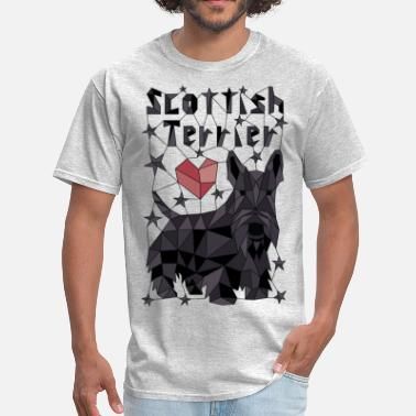 Scottish Terrier Puppy Geometric Scottish Terrier - Men's T-Shirt