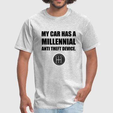Millennial Anti Theft Car Stick Shift Funny - Men's T-Shirt