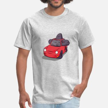 Big Cars Big gorilla in small car - Men's T-Shirt