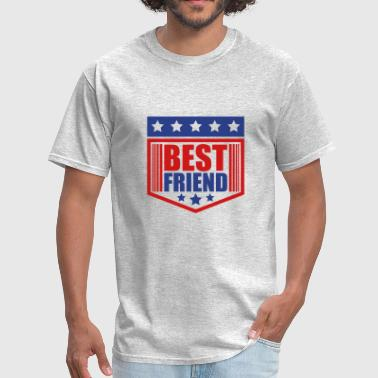 emblem shield stars best friends text logo friends - Men's T-Shirt