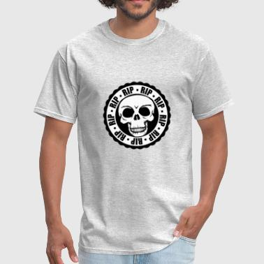 stamp, round, circle, rip, died, murder, skulls, s - Men's T-Shirt