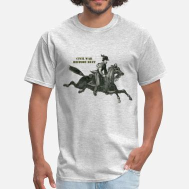 Civil War Confederate Soldier Civil War Confederate Cavalry Soldier on a Horse - Men's T-Shirt