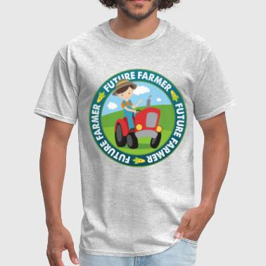 Red Farmer Future Farmer Boy on Red Tractor Farming Gift - Men's T-Shirt
