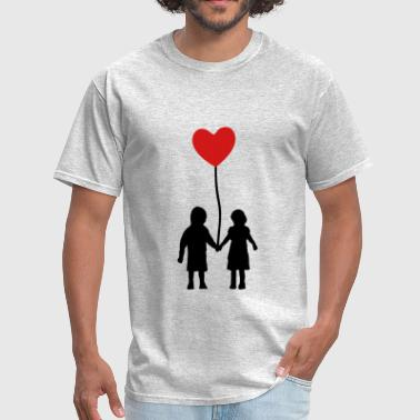 Kids Heart Kids and heart balloon - Men's T-Shirt