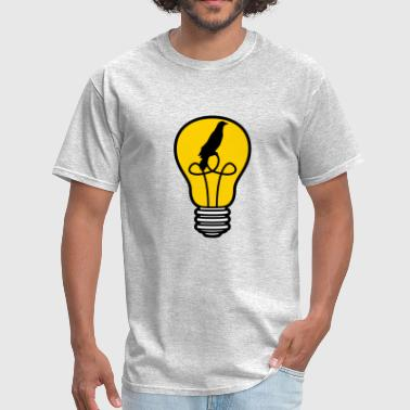 bird cage caught bird bulb light stream idea smart - Men's T-Shirt