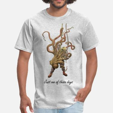 Octopus Octopus and Diver - Men's T-Shirt