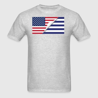 Half American Half Greek Flag - Men's T-Shirt