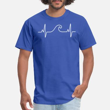 Wave Heartbeat Wave . Cool Surf Design - Men's T-Shirt