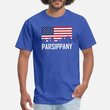 Parsippany Nj Parsippany New Jersey Skyline American Flag - Men's T-Shirt
