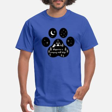 Adventure Awaits Happiness Is Camping With Dogs - Men's T-Shirt