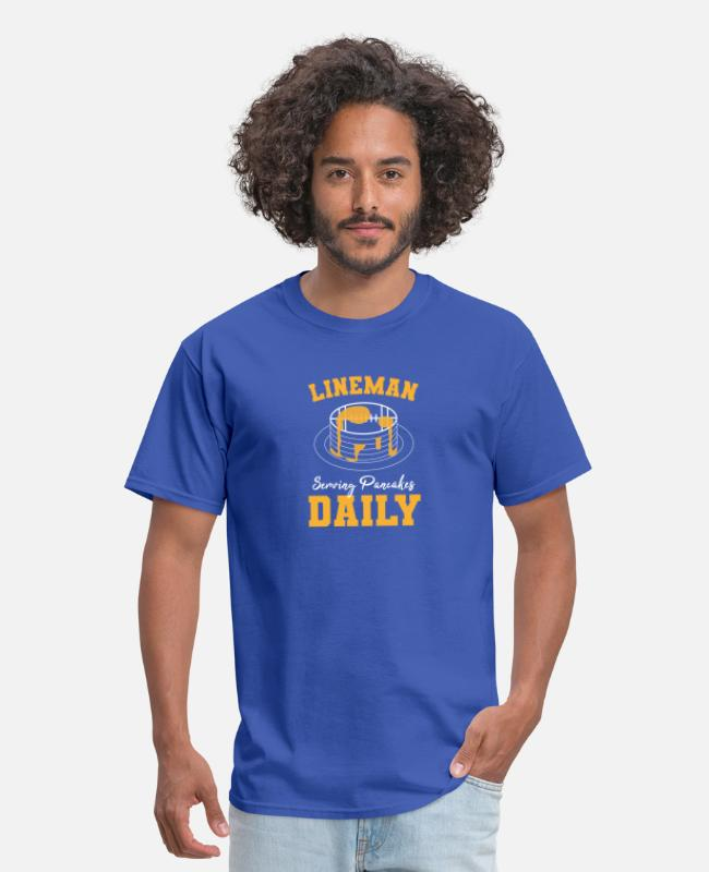 Stadium T-Shirts - Football Lineman, Serving Pancakes Daily - Men's T-Shirt royal blue