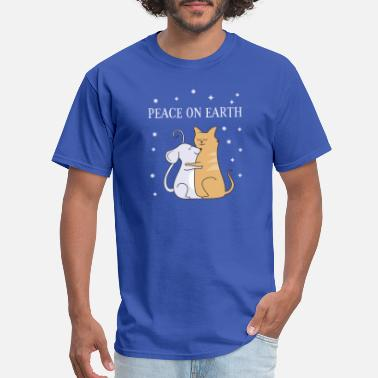 Hugs Cats Hugging Mouse and Cat For Peace - Men's T-Shirt