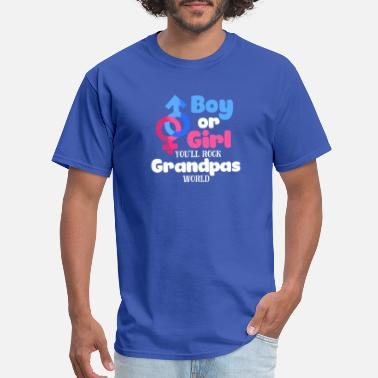 Baby Shower Boy Boy Or Girl Gender Reveal Baby Shower Grandpa - Men's T-Shirt