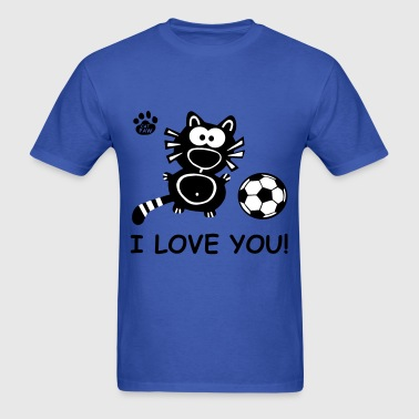 I Love you Cupid Cat Soccer Couple Couples Cats  - Men's T-Shirt