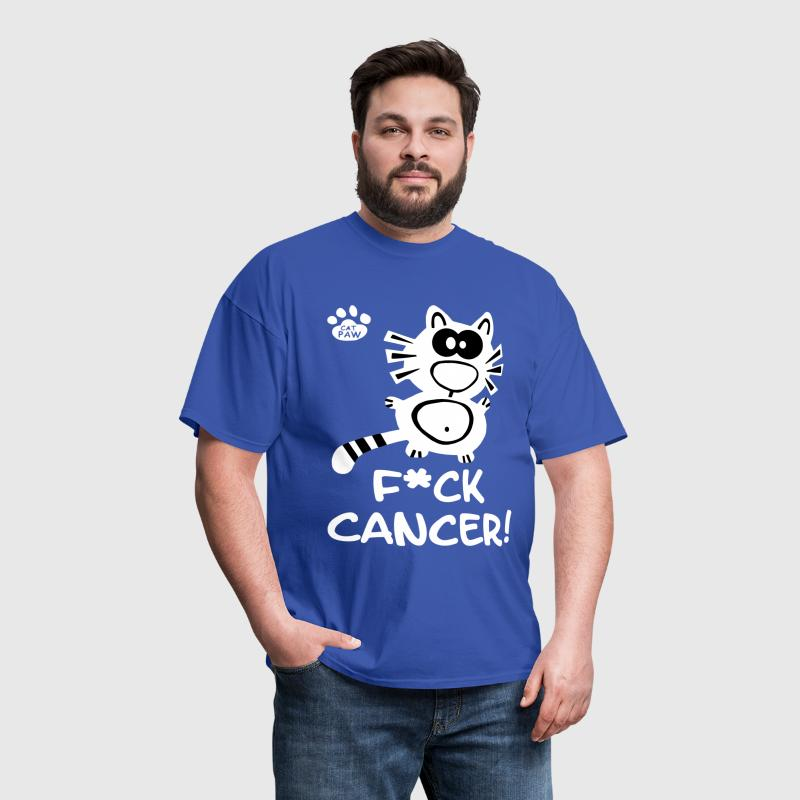 Fuck Cancer Breast Cancer Cat Cats Statement Fun  - Men's T-Shirt