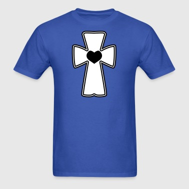 celtic cross with love heart - Men's T-Shirt