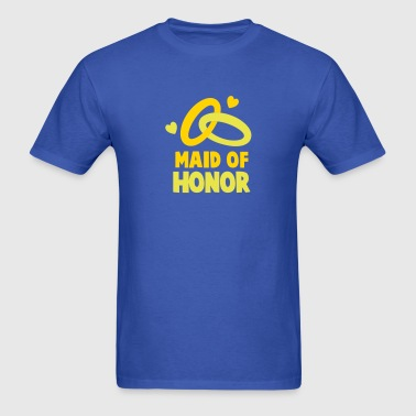 MAID OF HONOR with cute love hearts and rings - Men's T-Shirt