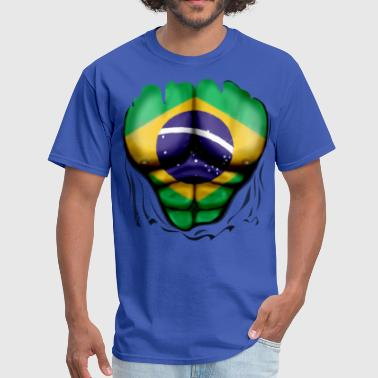 Bulge Football Brazil Flag Ripped Muscles, six pack, chest t-shirt - Men's T-Shirt