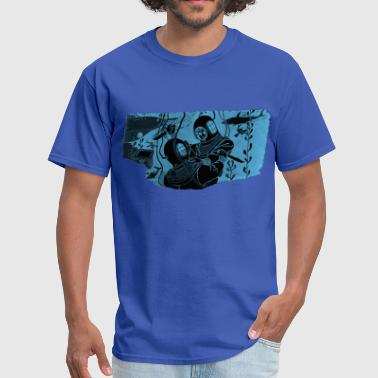 Vintage Helmet Divers Fighting with Knives - Men's T-Shirt