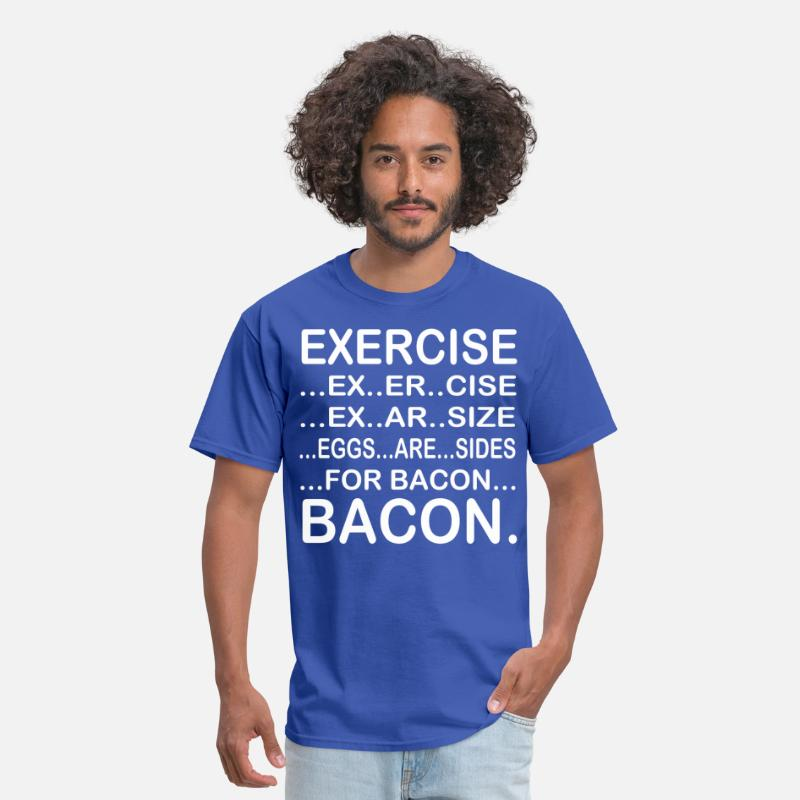 Funny T-Shirts - Exercise ex er cise ex ar size eggs are sides - Men's T-Shirt royal blue