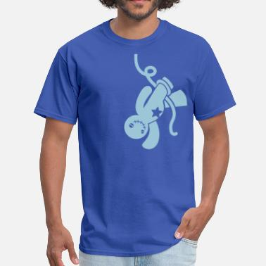 Hang Emo voodoo happy child all tied up hanging from the neckline - Men's T-Shirt