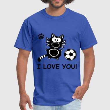Soccer Couple I Love you Cupid Cat Soccer Couple Couples Cats  - Men's T-Shirt