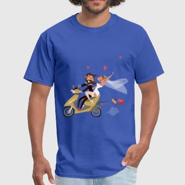 newlyweds on a motorcycle - Men's T-Shirt