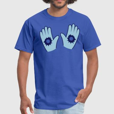 hands up with bullet holes - Men's T-Shirt
