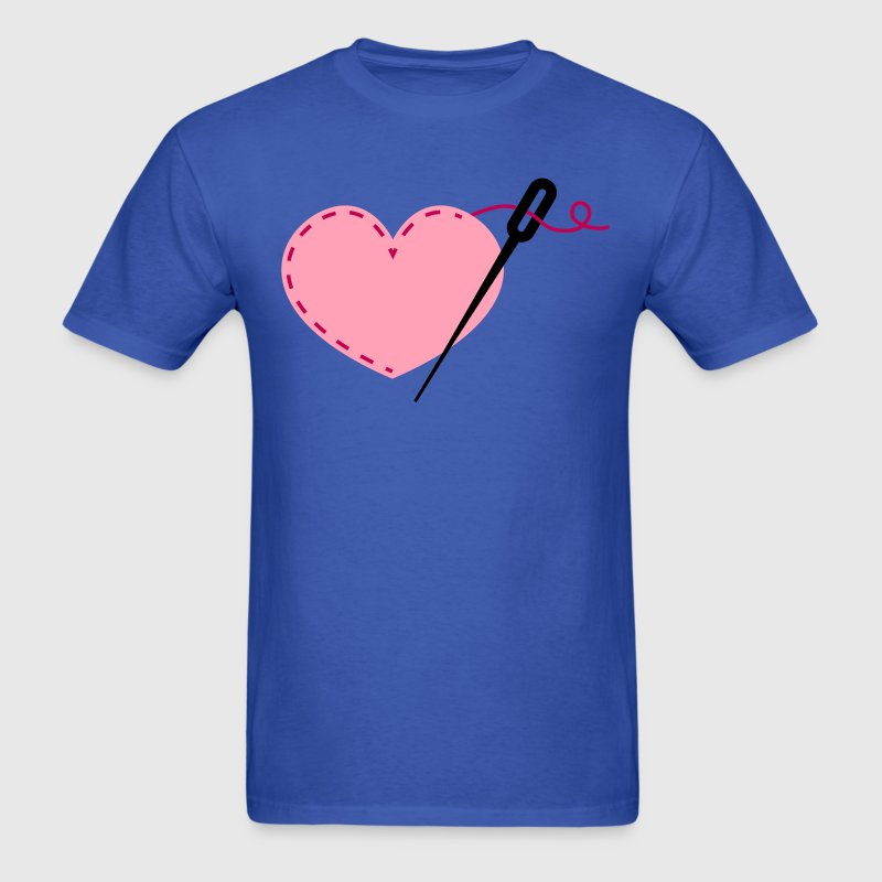 sewing heart crafty with needle - Men's T-Shirt