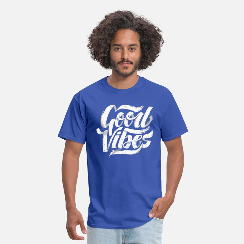 Good Vibes T-Shirts - Good Vibes, Cool Hand Lettered Typographic T-Shirt - Men's T-Shirt royal blue