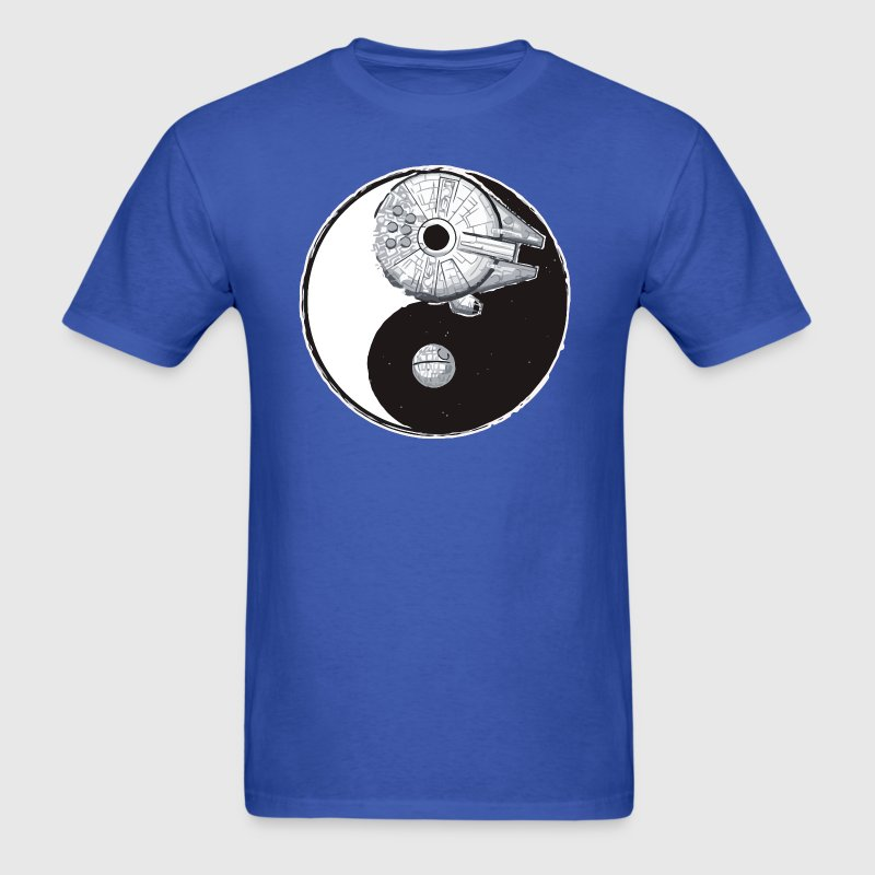 Millenium falcon and death star Yin Yang - Men's T-Shirt