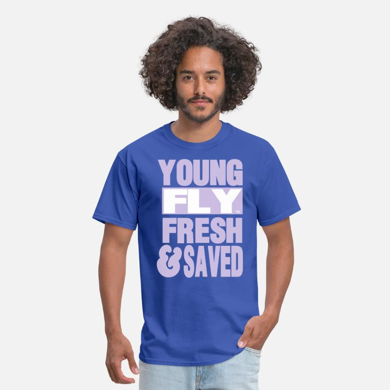 Jesus Saves Christian T-Shirts - YOUNG FLY FRESH & SAVED - Men's T-Shirt royal blue