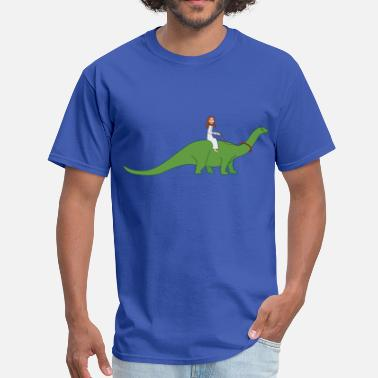 Mode Of Transport Jesus on a Brontosaurus - Men's T-Shirt