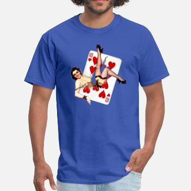 Card Retro vintage girl in a card - Men's T-Shirt