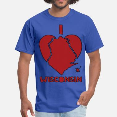 Wisconsin Heart  i heart Wisconsin (red) - Men's T-Shirt
