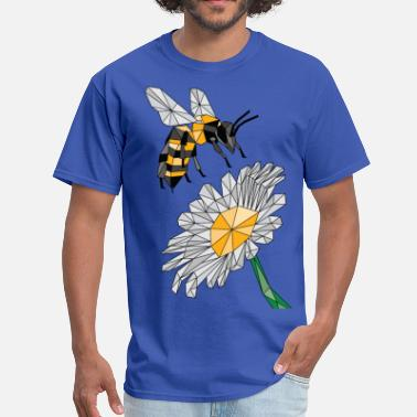 Bee Geometric Bee & Flower - Men's T-Shirt