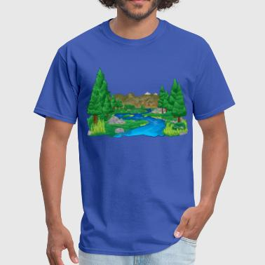 Forest River Landscape - Men's T-Shirt