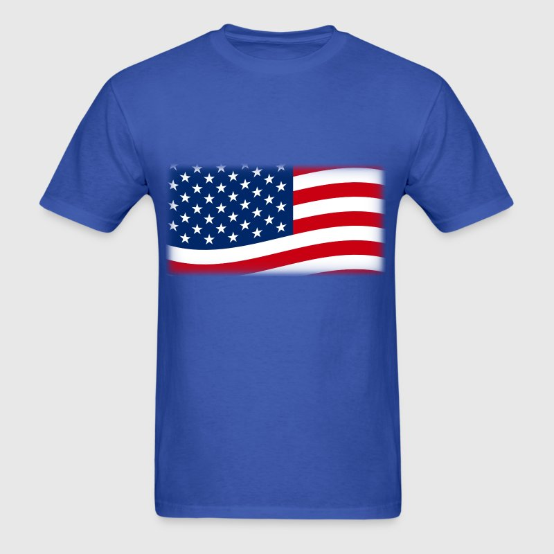 American Flag Waving, Patriotic Red White and Blue - Men's T-Shirt
