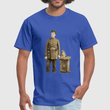 Vintage 19th Century Fireman with Axes - Men's T-Shirt