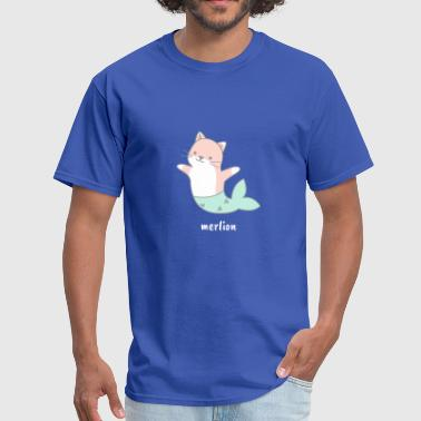 Merlion Mermaid Cat Pussy Meow Lion - Men's T-Shirt