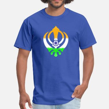 Khalsa Indian Flag Khanda (Sikhism) - Men's T-Shirt