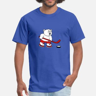 Polar Bear Hockey polar bear playing hockey - Men's T-Shirt