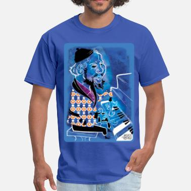 The Blues Jazz Man Blue at Piano by Sather - Men's T-Shirt